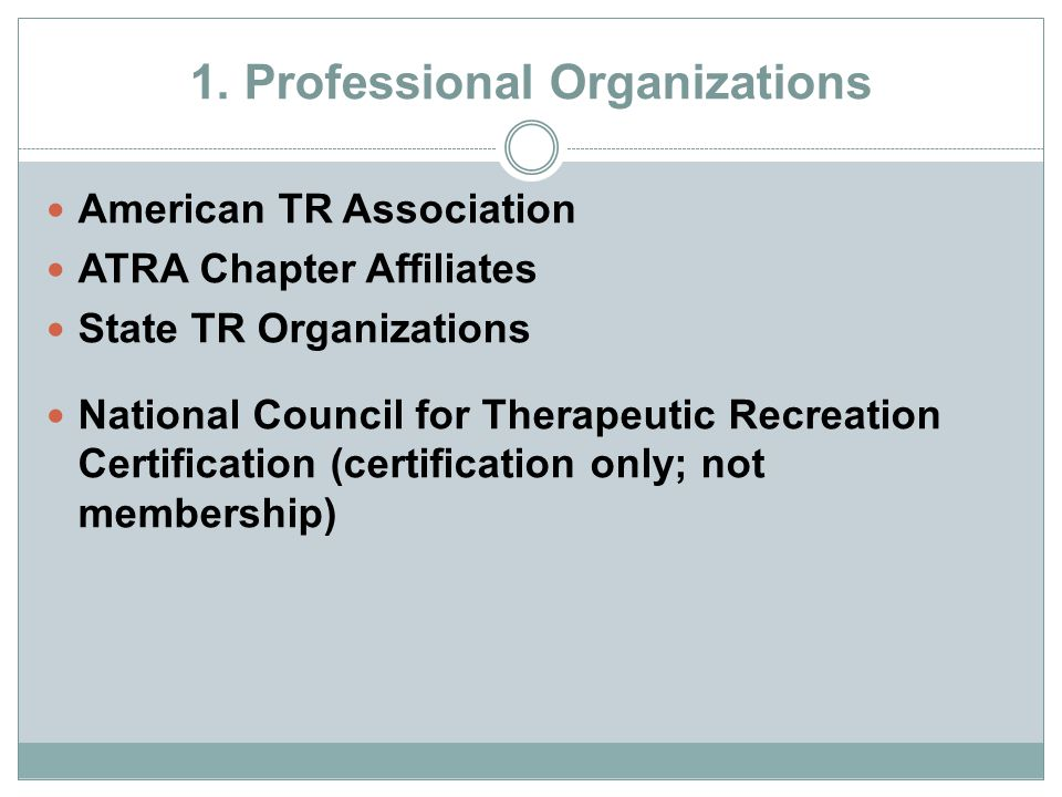 1. Professional Organizations