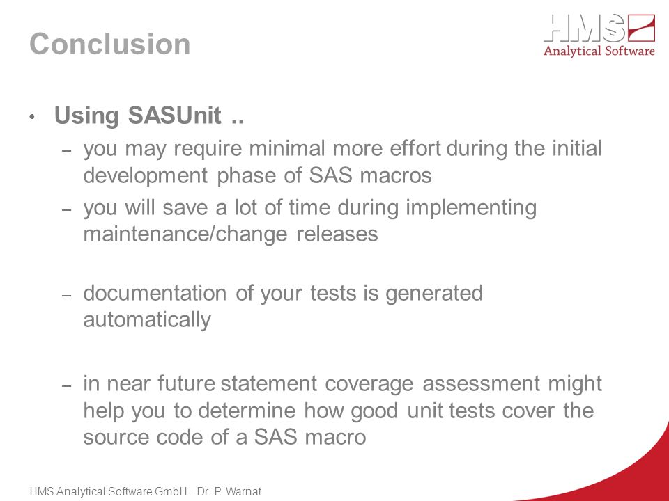 Conclusion Using SASUnit ..