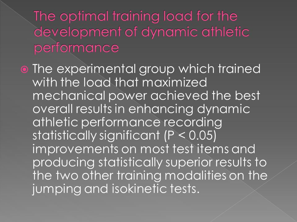 The optimal training load for the development of dynamic athletic performance