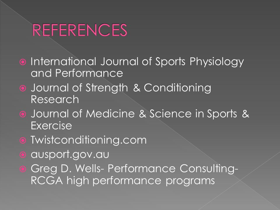REFERENCES International Journal of Sports Physiology and Performance