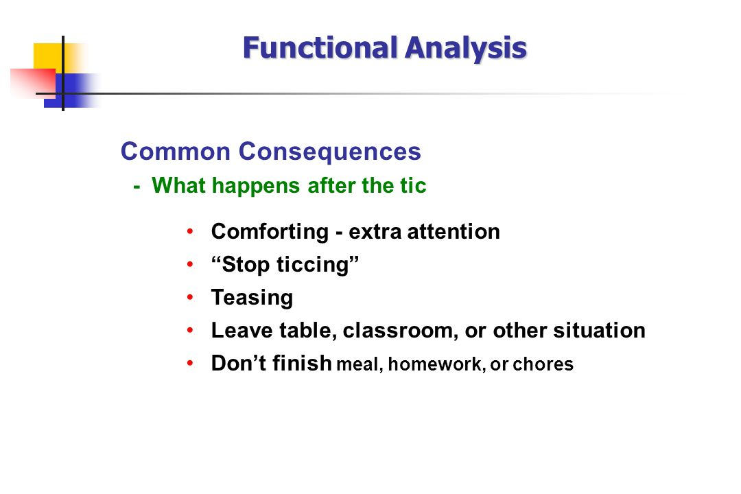 Functional Analysis Common Consequences - What happens after the tic