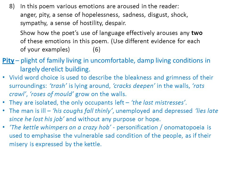 8). In this poem various emotions are aroused in the reader: