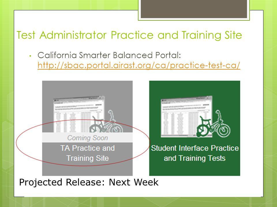 Test Administrator Practice and Training Site