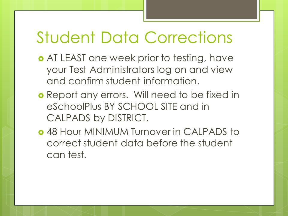 Student Data Corrections