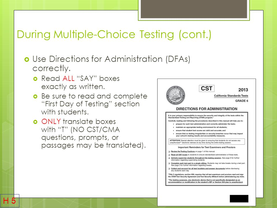During Multiple-Choice Testing (cont.)