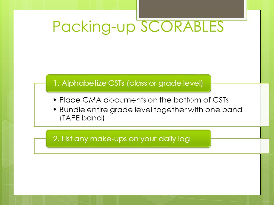 Packing-up SCORABLES Place CMA documents on the bottom of CSTs
