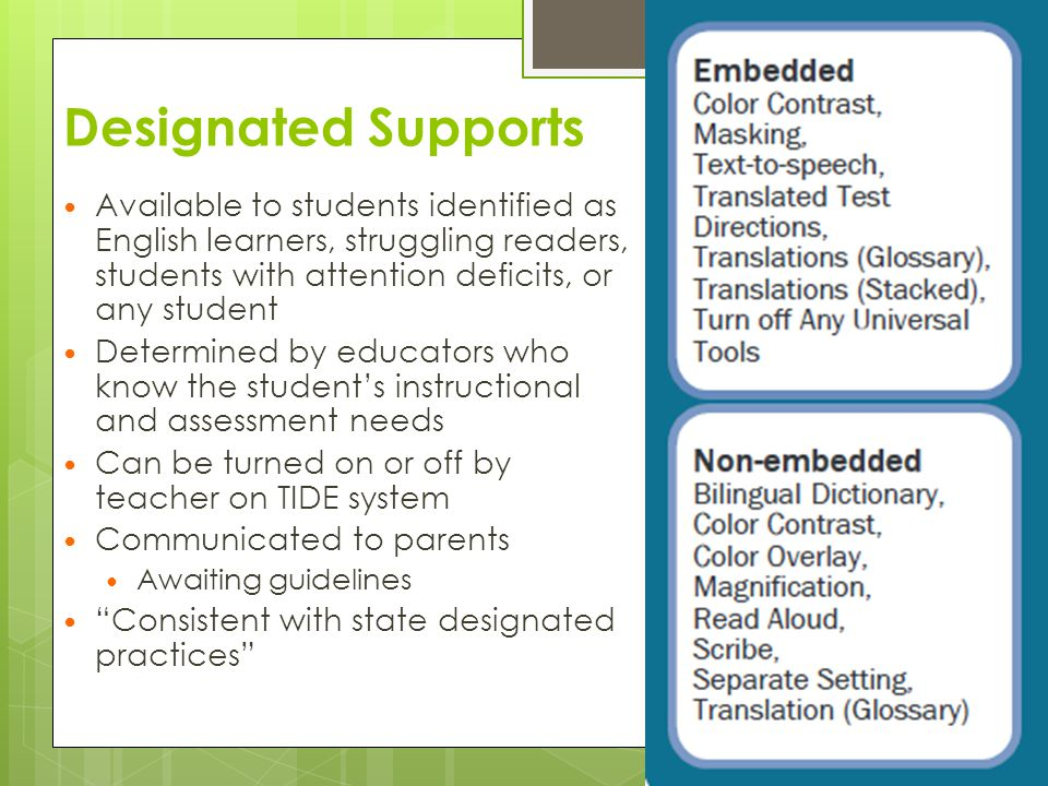 Designated Supports Available to students identified as English learners, struggling readers, students with attention deficits, or any student.