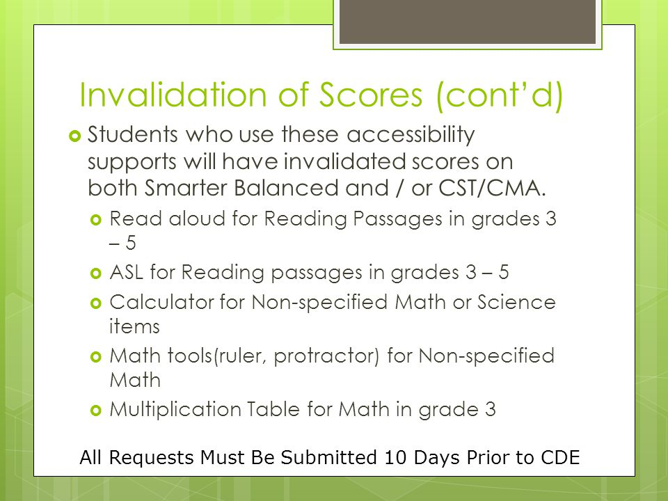 Invalidation of Scores (cont'd)