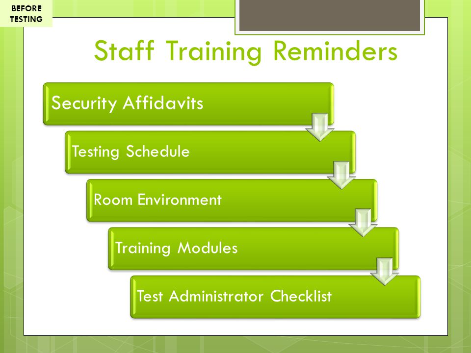 Staff Training Reminders