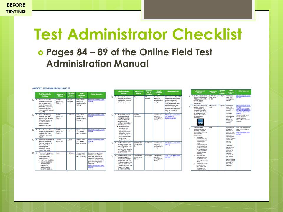 Test Administrator Checklist