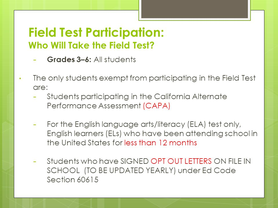 Field Test Participation: Who Will Take the Field Test