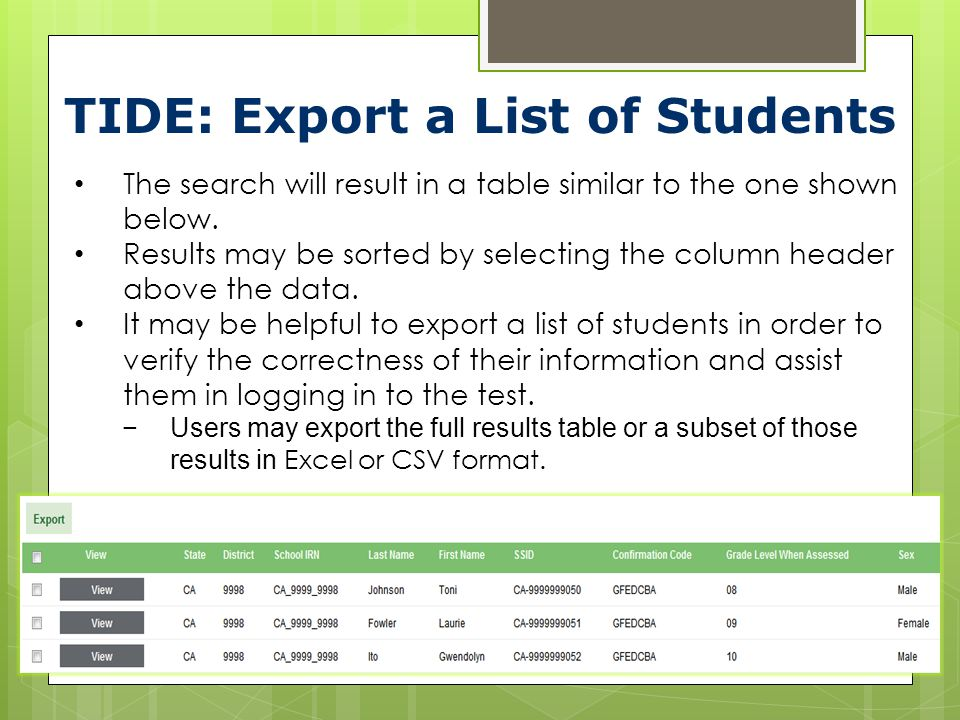TIDE: Export a List of Students