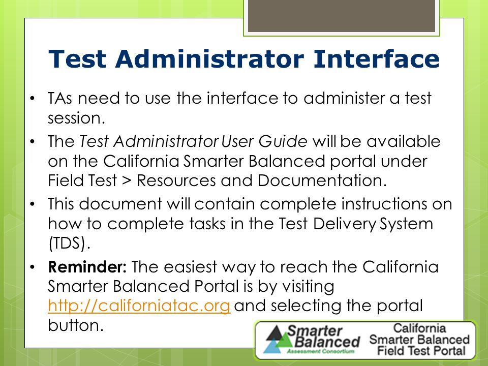 Test Administrator Interface