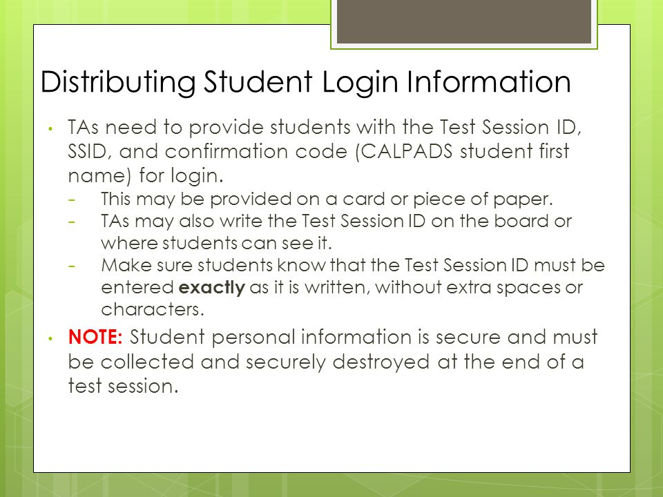 Distributing Student Login Information