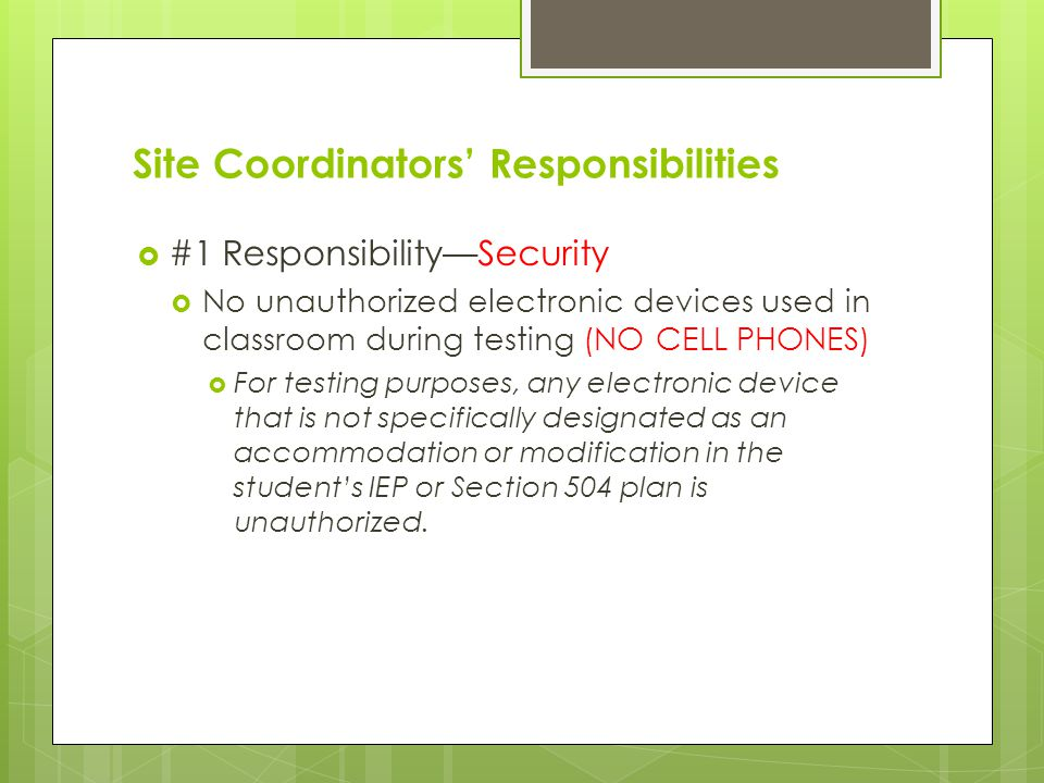 Site Coordinators' Responsibilities