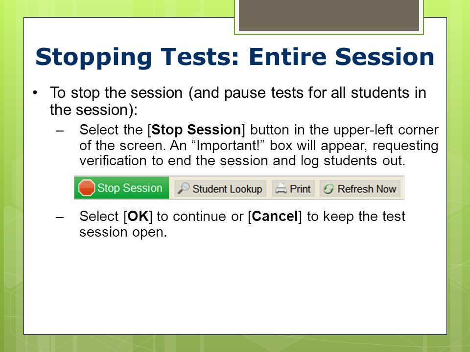 Stopping Tests: Entire Session