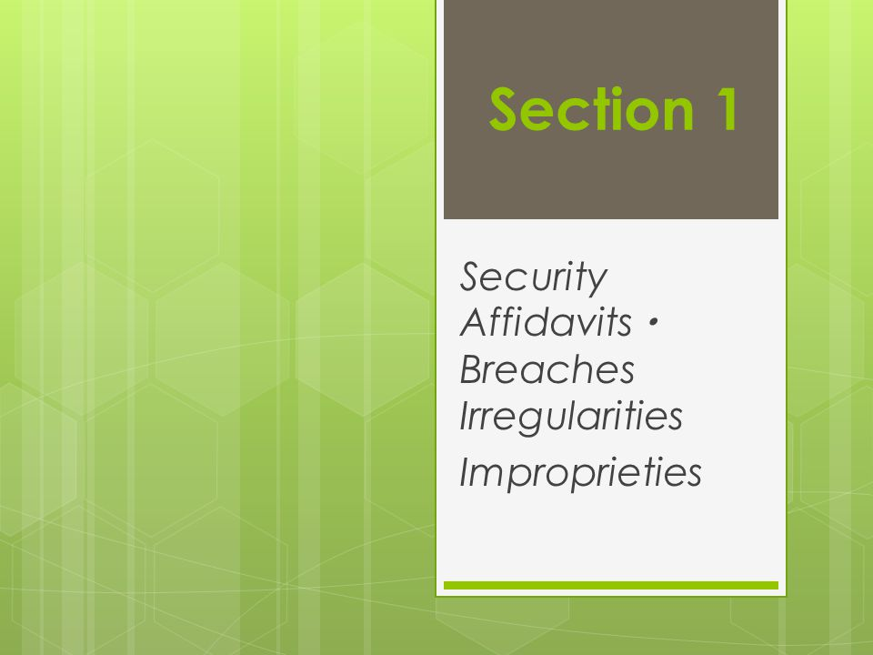 Security Affidavits  Breaches Irregularities Improprieties