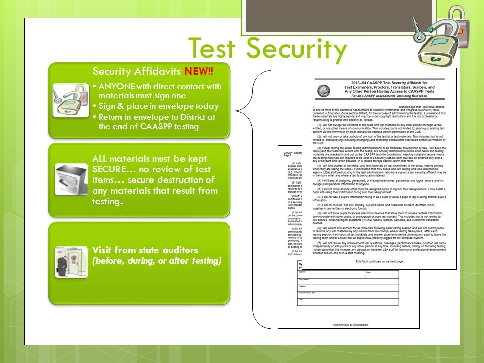 Test Security Security Affidavits NEW!!