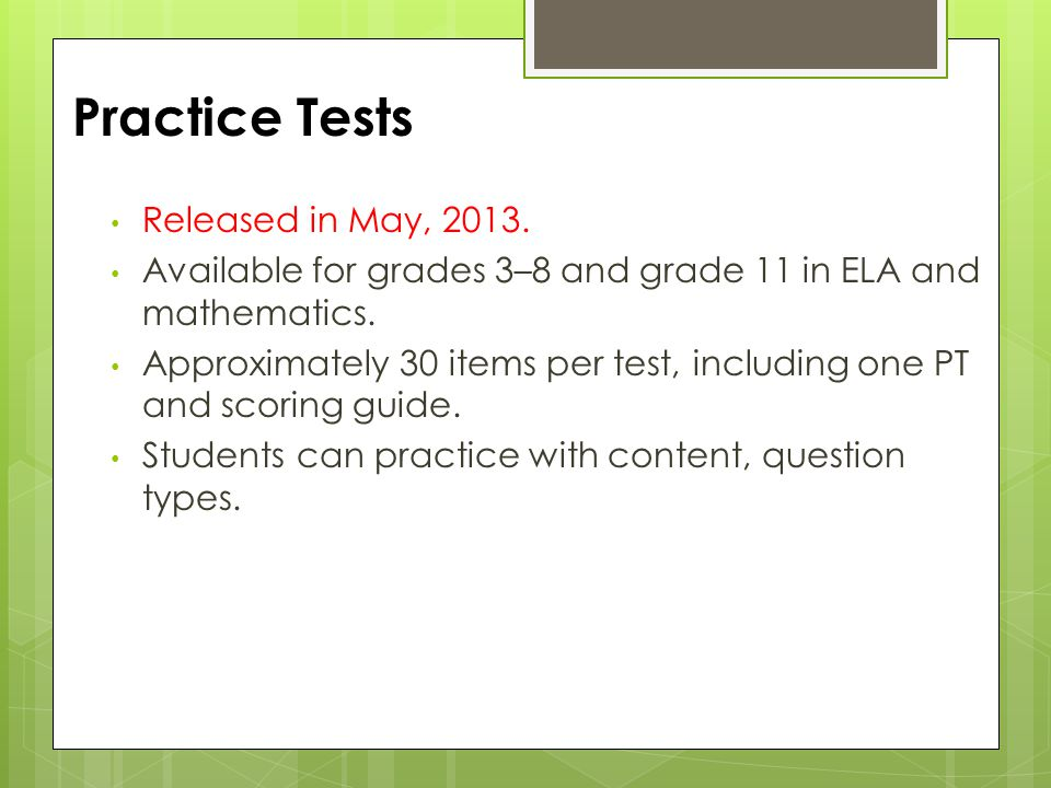Practice Tests Released in May, 2013.