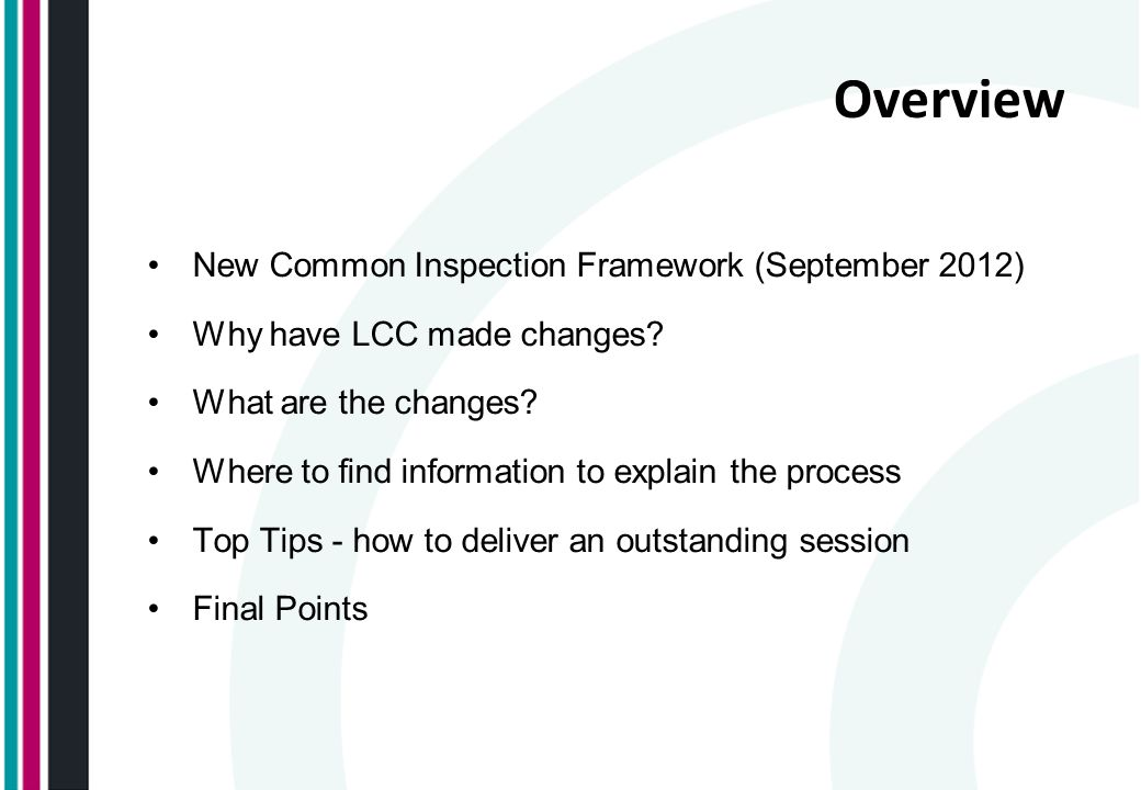 Overview New Common Inspection Framework (September 2012)
