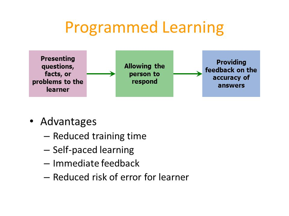 Programmed Learning Advantages Reduced training time