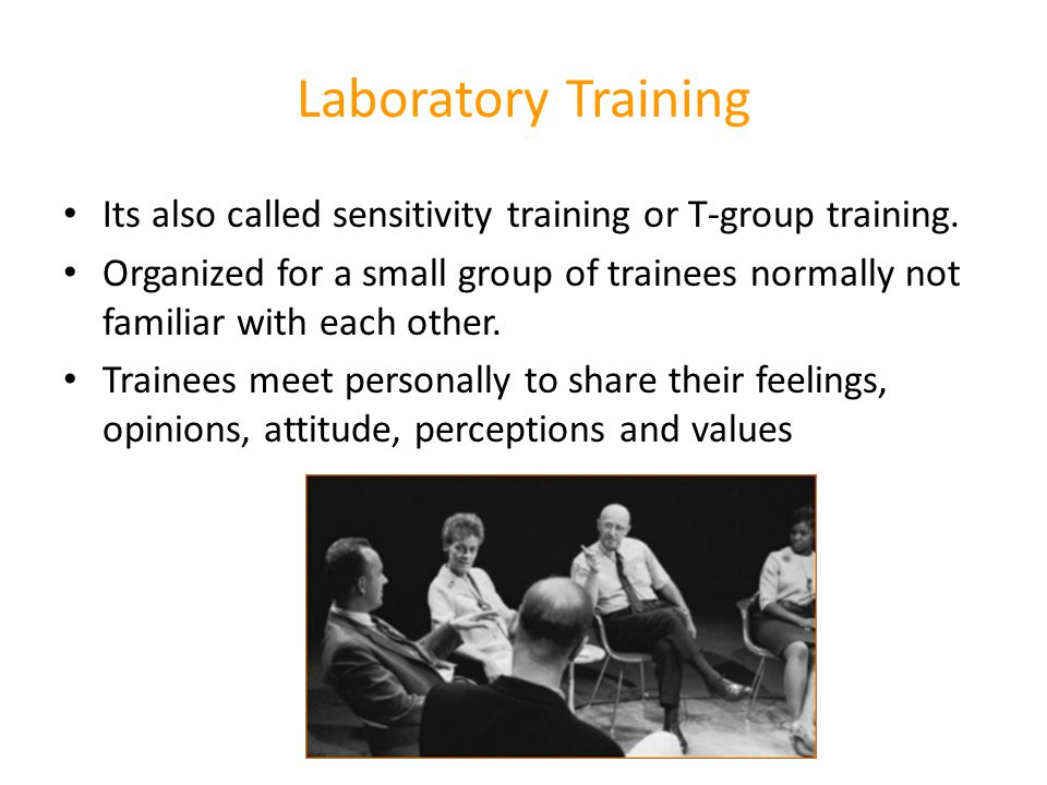 Laboratory Training Its also called sensitivity training or T-group training.