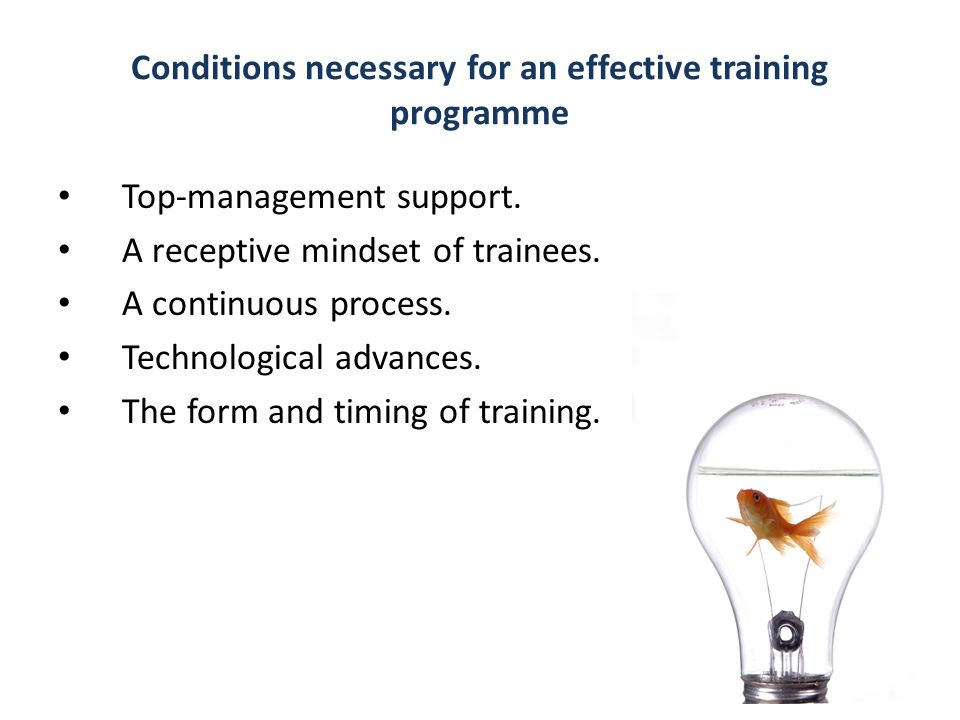 Conditions necessary for an effective training programme