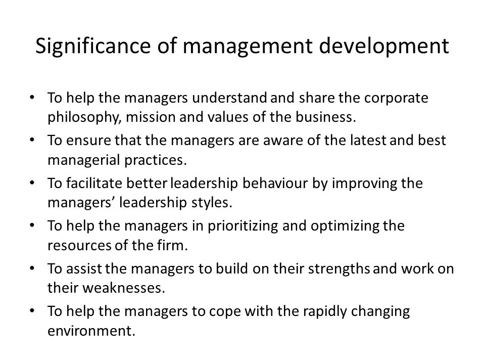 Significance of management development