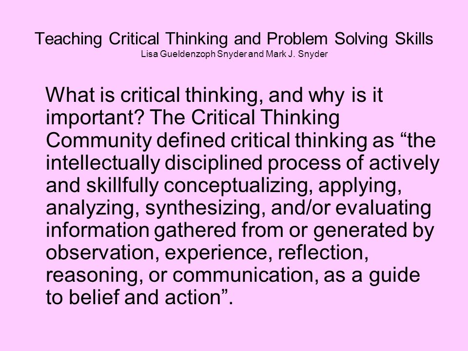 why critical thinking is important essay