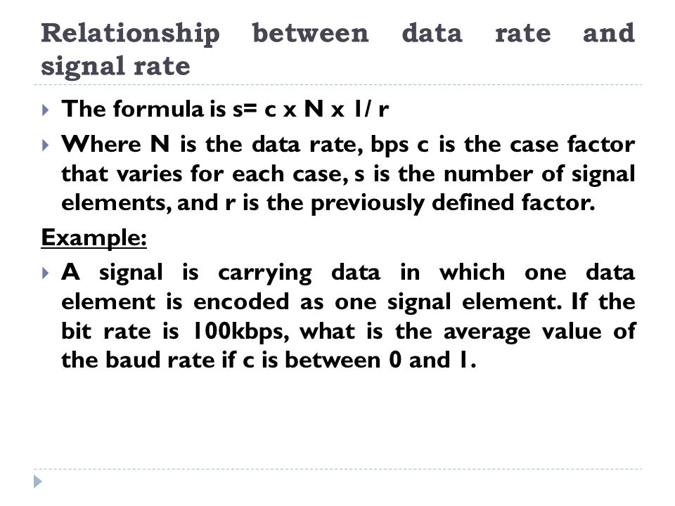 Relationship between data rate and signal rate