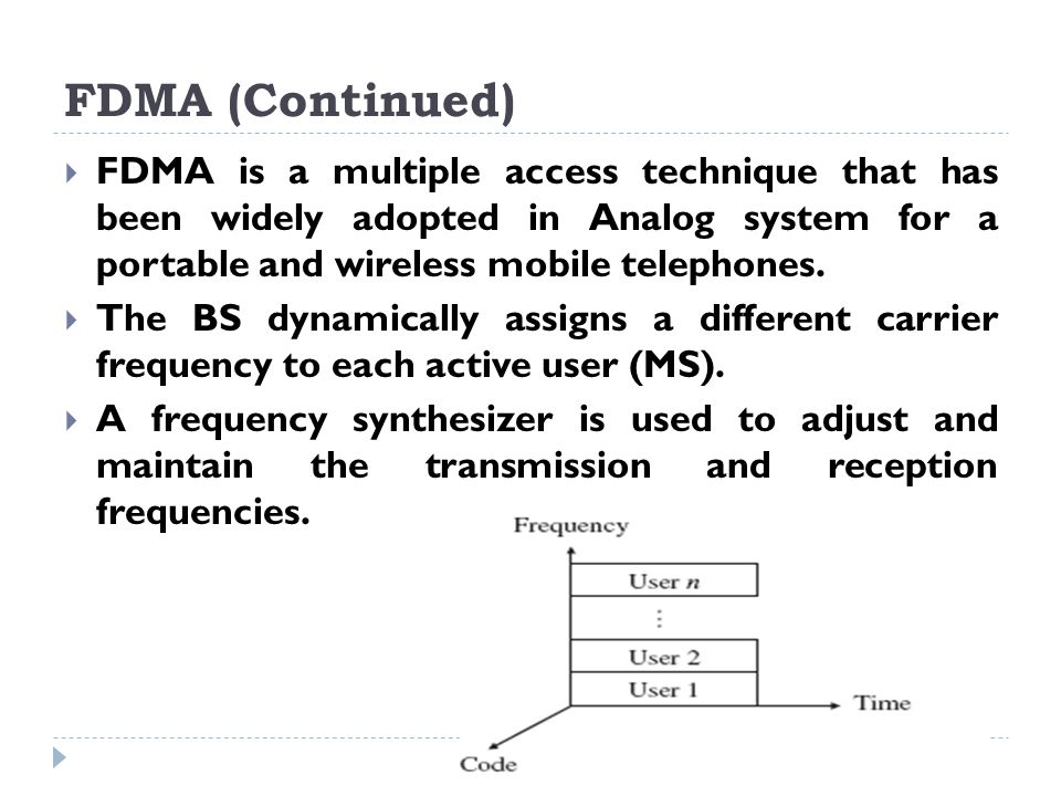 FDMA (Continued) FDMA is a multiple access technique that has been widely adopted in Analog system for a portable and wireless mobile telephones.