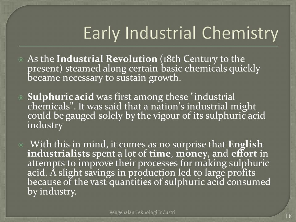 Early Industrial Chemistry