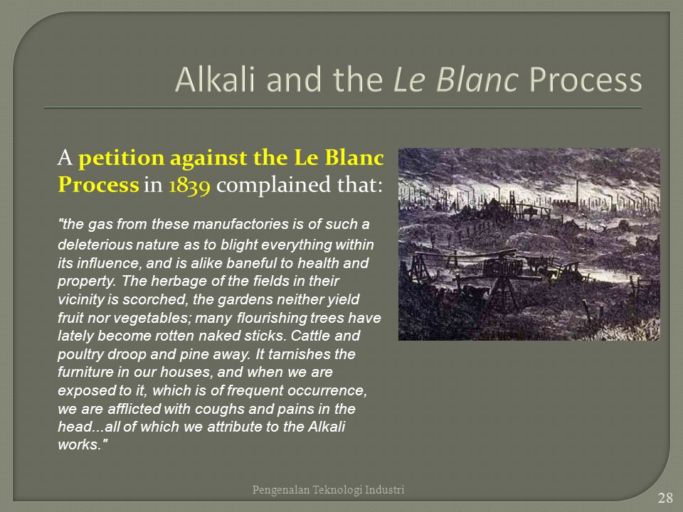 Alkali and the Le Blanc Process