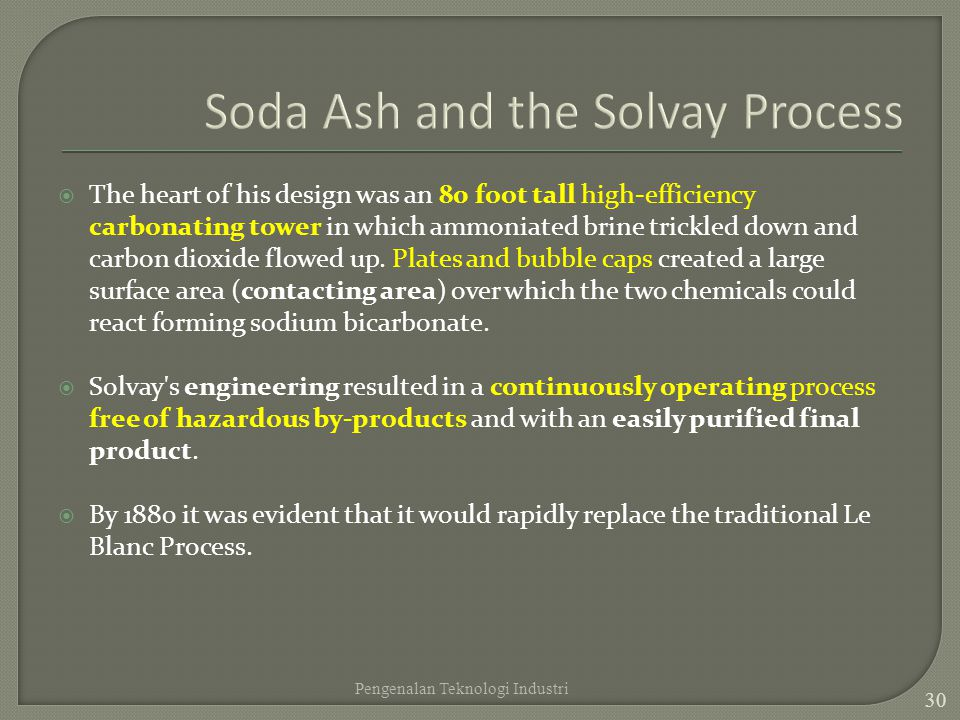 Soda Ash and the Solvay Process