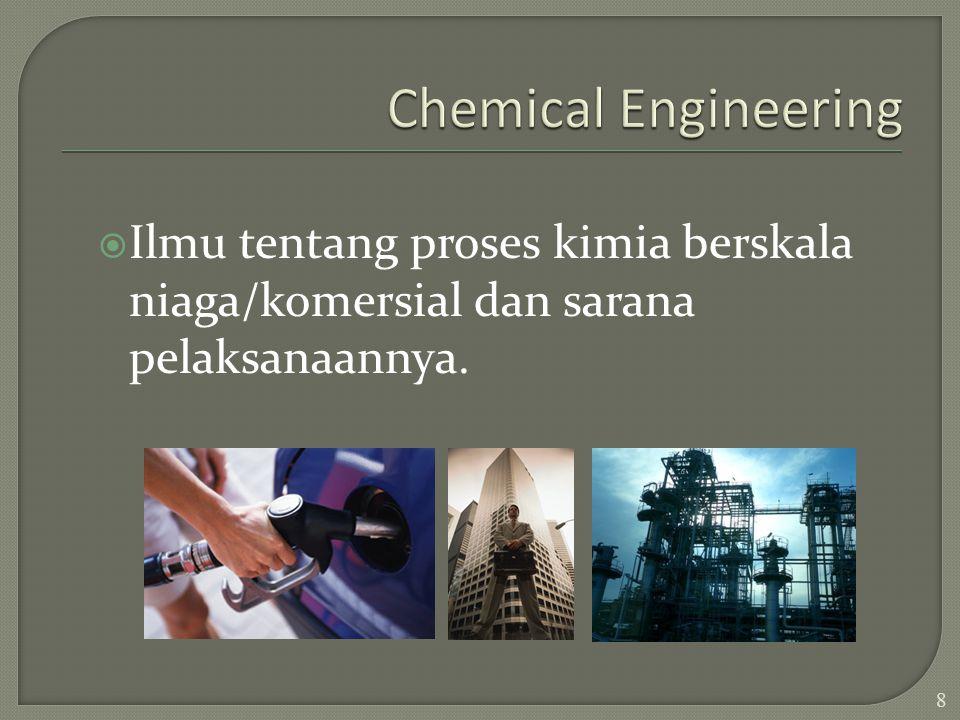 Chemical Engineering Ilmu tentang proses kimia berskala niaga/komersial dan sarana pelaksanaannya.