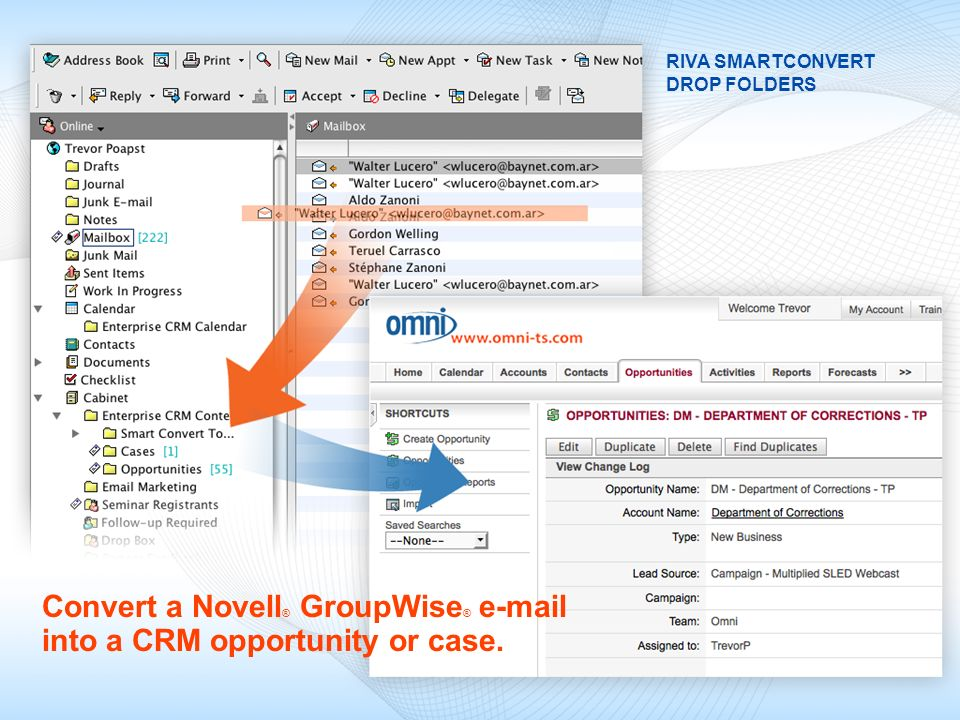 Convert a Novell® GroupWise® e-mail into a CRM opportunity or case.