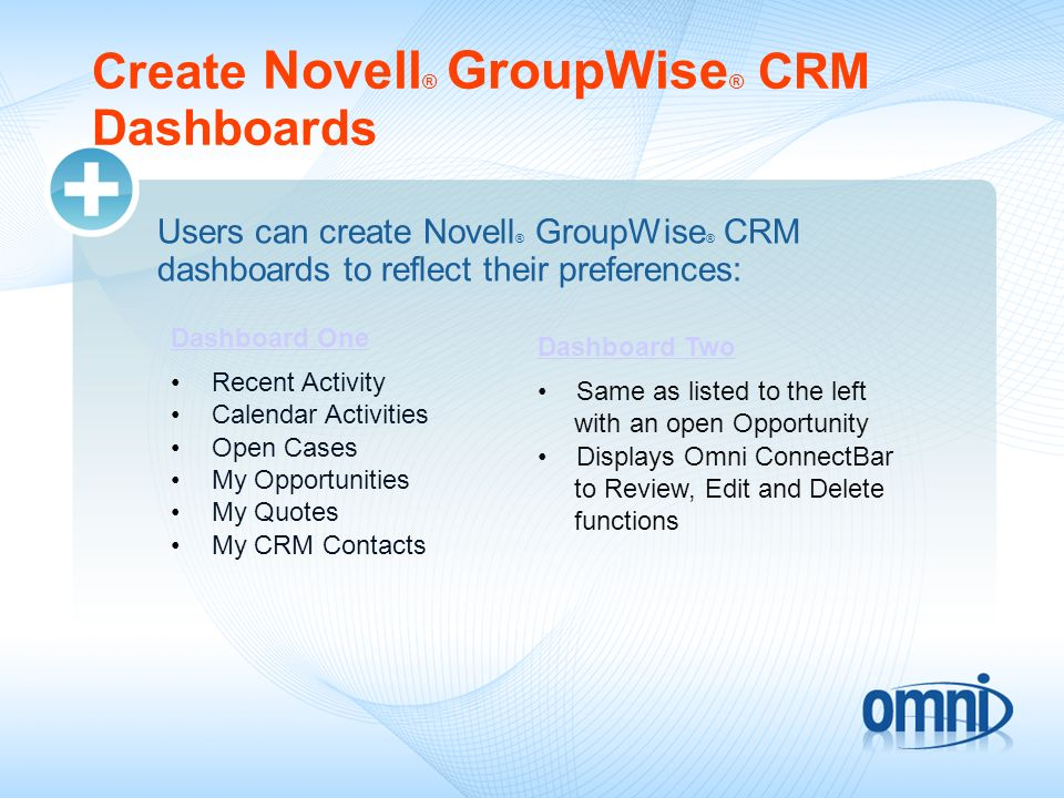 Create Novell® GroupWise® CRM Dashboards