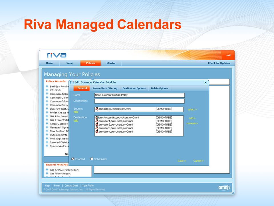 Riva Managed Calendars