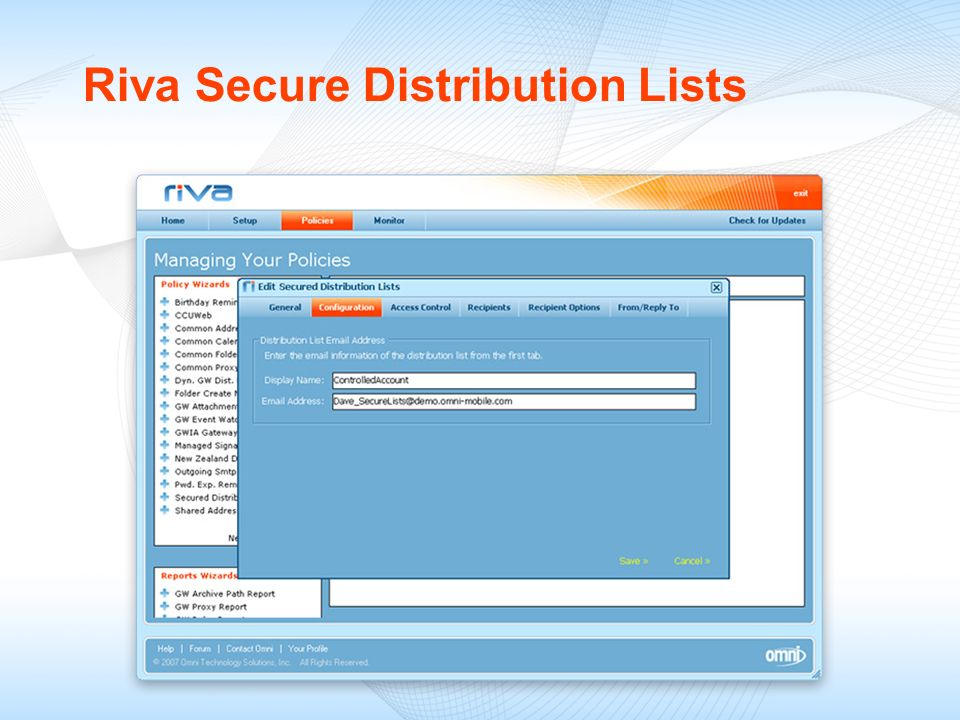 Riva Secure Distribution Lists