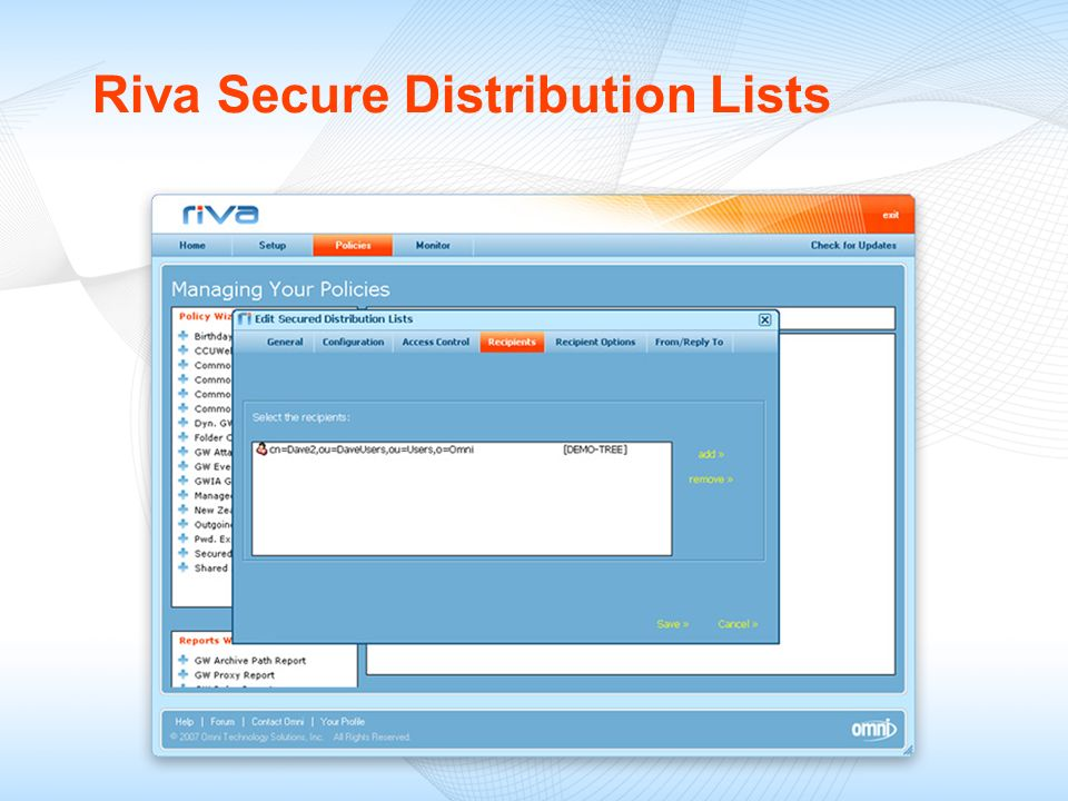 Riva Secure Distribution Lists