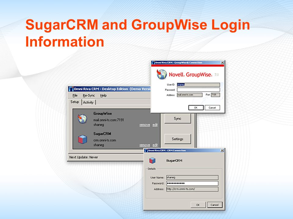 SugarCRM and GroupWise Login Information