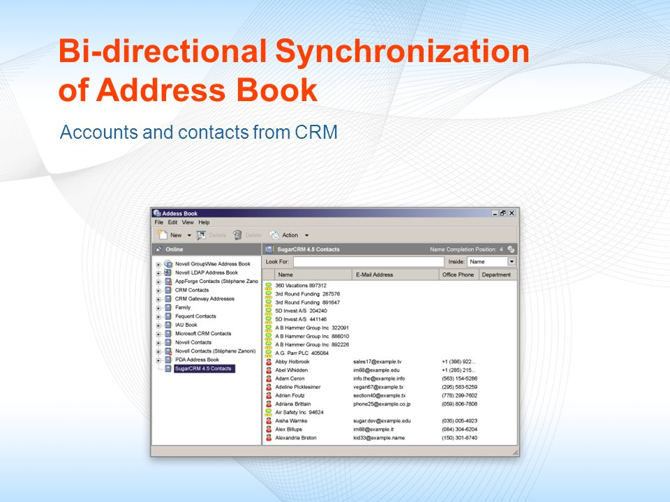 Bi-directional Synchronization of Address Book