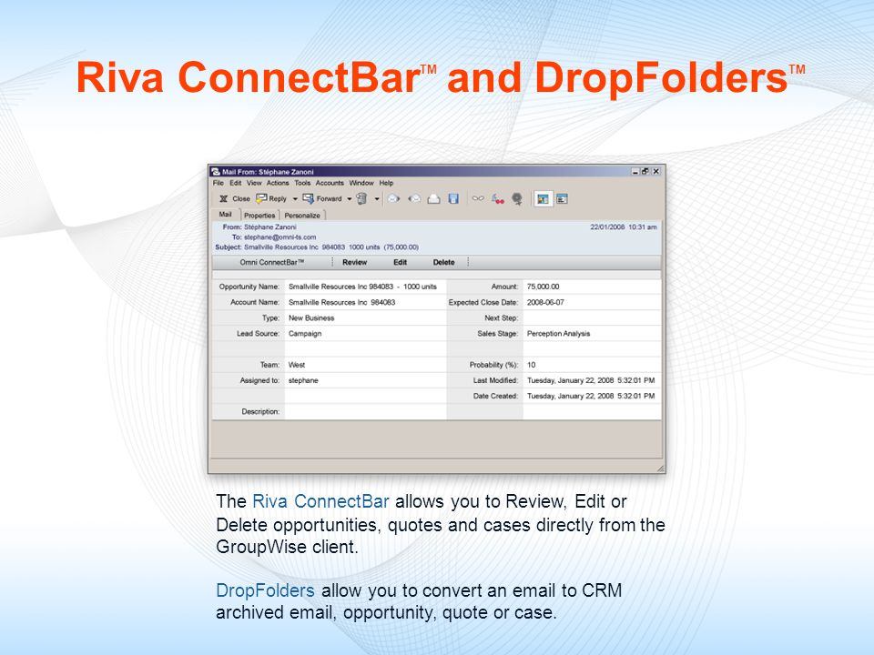 Riva ConnectBarTM and DropFoldersTM