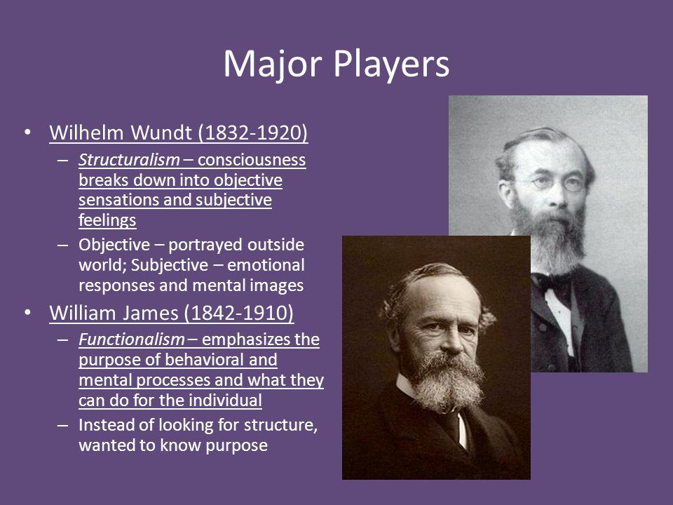 Major Players Wilhelm Wundt (1832-1920) William James (1842-1910)