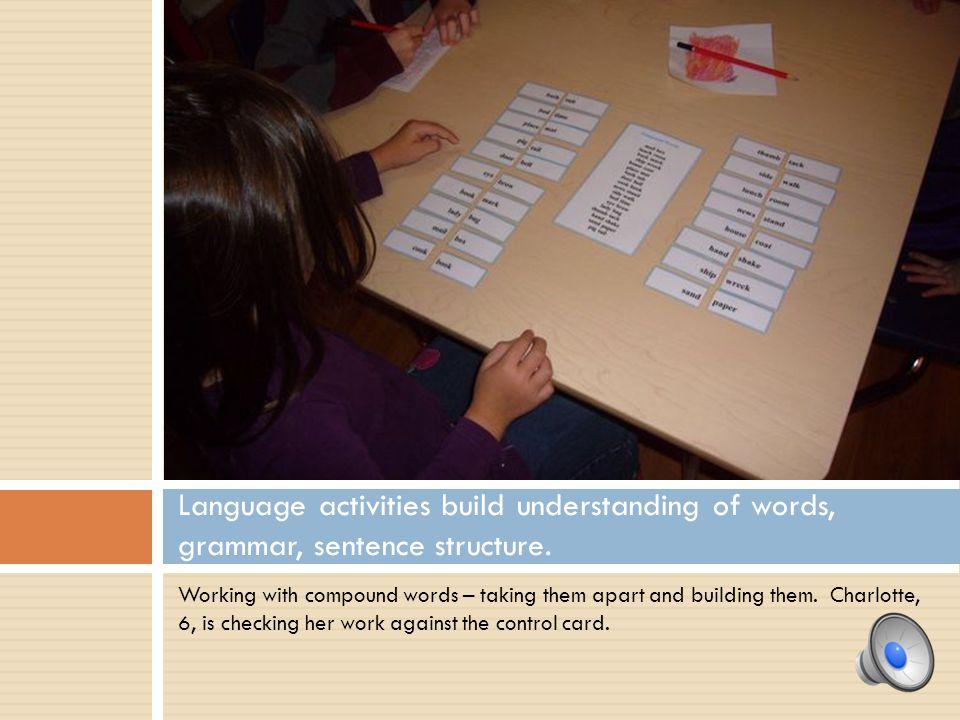Language activities build understanding of words, grammar, sentence structure.