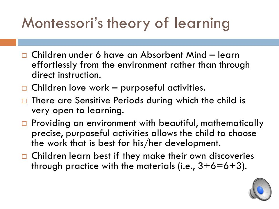 Montessori's theory of learning