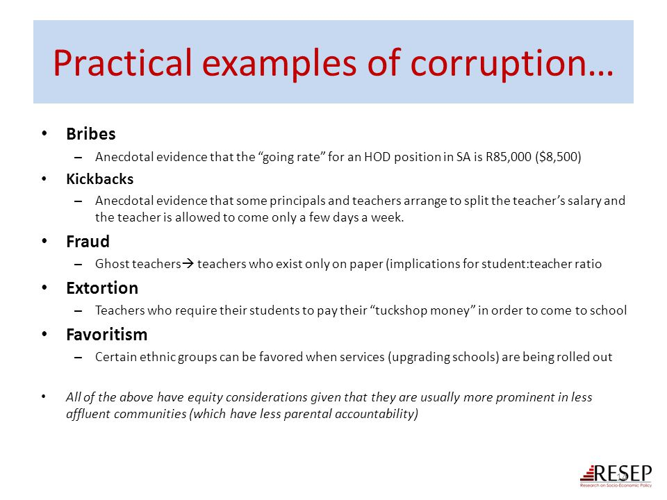 Practical examples of corruption…