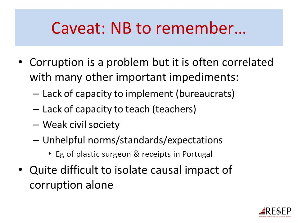Caveat: NB to remember…