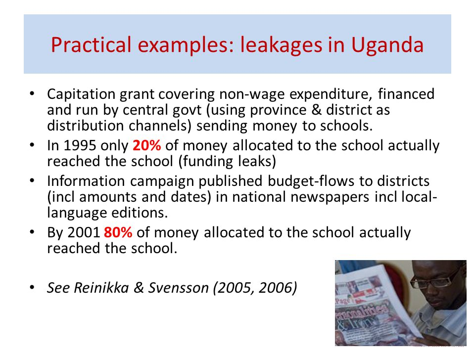 Practical examples: leakages in Uganda