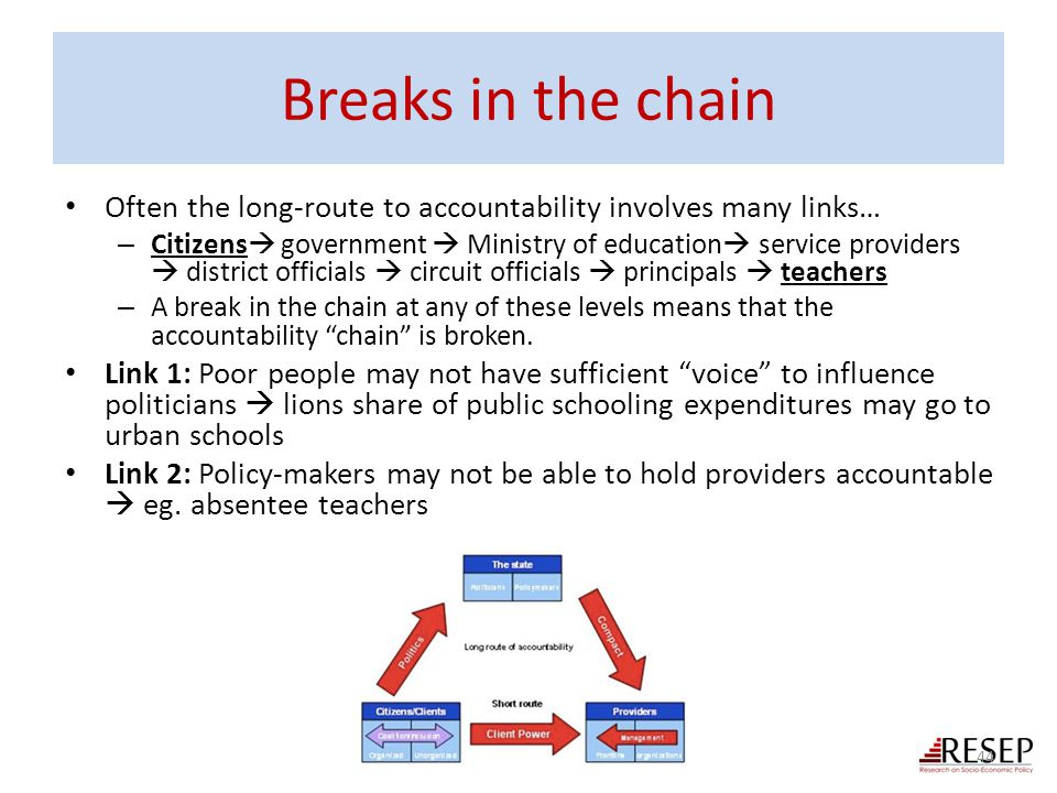 Breaks in the chain Often the long-route to accountability involves many links…